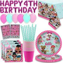 LOL Surprise Birthday Party Set for 16 - Plates, Napkins, Cups, Straws, Happy 4th Birthday Balloon Banner, Table cover, Latex Balloons, Sticker Sheets - Great LOL Doll Party Supplies