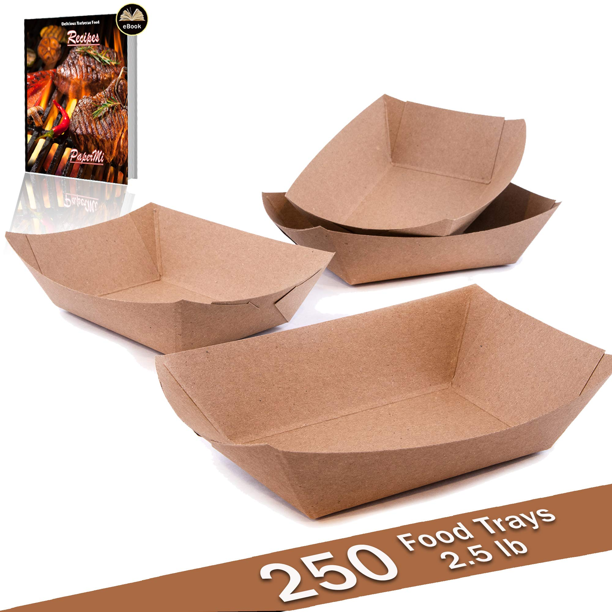 Brown Kraft Paper Food Tray, Capacity of 2.5lb, Eco-friendly Kraft Food Trays USA Made, FDA Approved Recyclable & Biodegradable, Convenient for all Event: Party, Camping, Carnival, BBQ… (250pc)