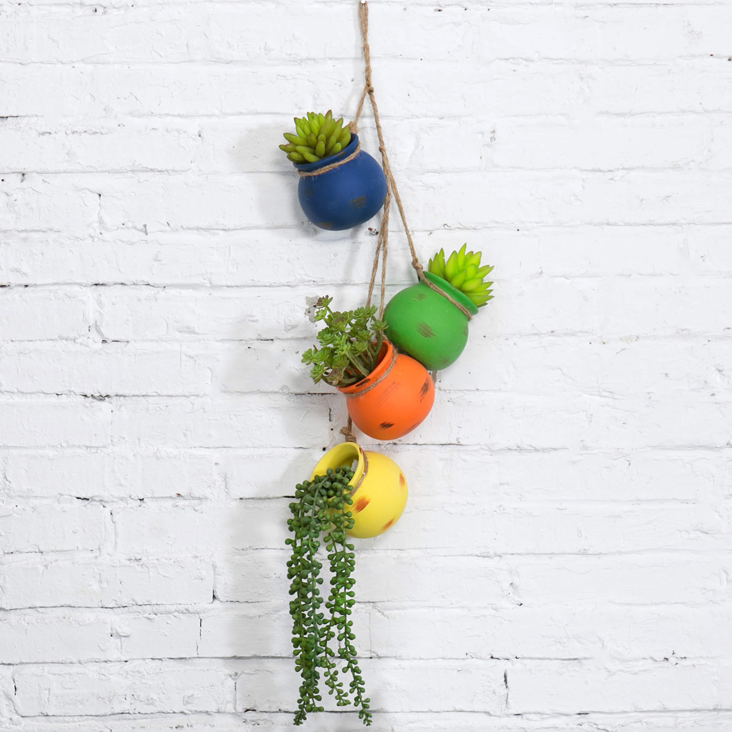 MyGift Mixed Bright Rainbow-Color Hanging Ceramic 4 Pot Planter Set