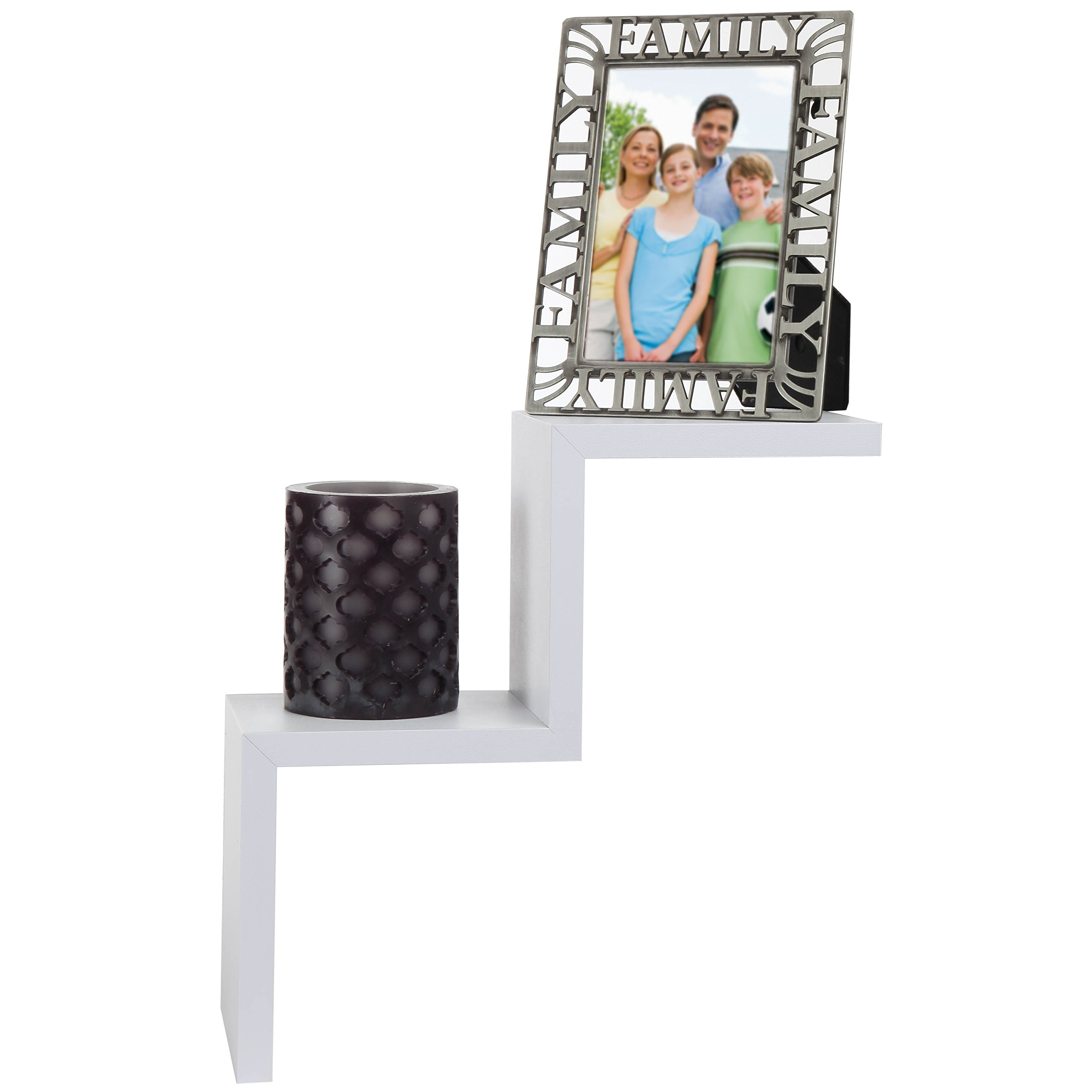 ARAD White 2 Steps Ladder Type Shaped Wall Shelf