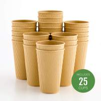 Insulated Paper Coffee Cups - Ripple Wall - Kraft - 16oz. - 500 Count Box - MATCHING LIDS: RWA0360B, RWA0360W, RWA0328LG, RWA0328GR, RWA0328HP, RWA0283W, RWA0283B
