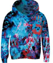 Unisex Youth Cool Hoodies Funny Trendy Graffiti Hooded Tops for Kids Girls Boys Pullover Painting Sweatshirt 3D Graphic Pockets Outfit for Spring Fall Brithday Gift 6-7 Years