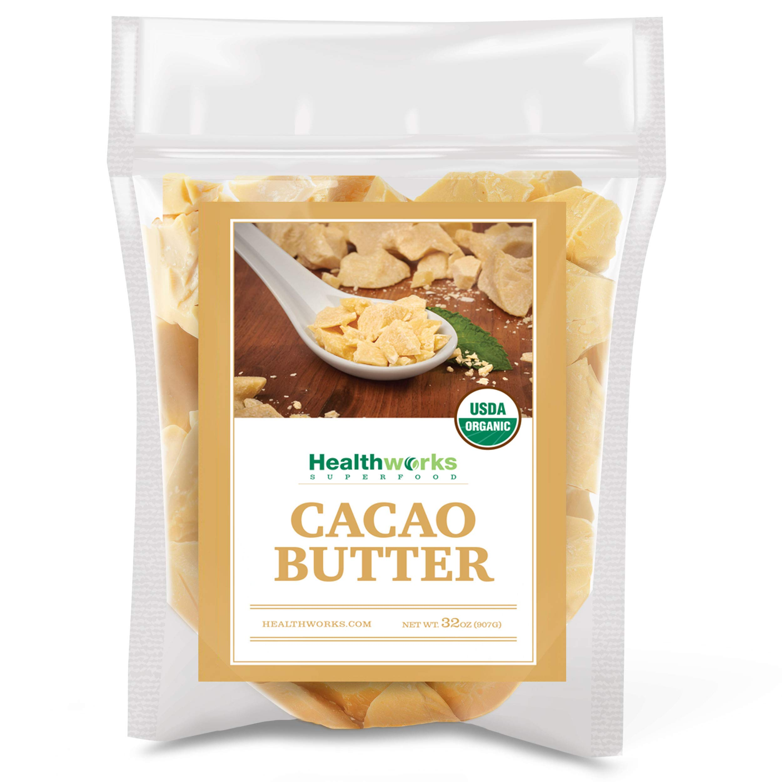 Healthworks Cacao Butter (32 Ounces / 2 Pounds) Organic   Unrefined Non-Deodorized Cocoa   Certified Organic from Peru   Sugar-Free, Keto, Vegan & Non-GMO   Antioxidant Superfood