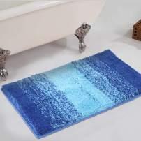 HAOCOO Bathroom Rugs Ombre Stripe Blue 18x26 inch Non-Slip Bath Mat Water Absorbent Soft Shaggy Microfiber Machine Washable Luxury Plush Bath Floor Rugs for Tub Shower