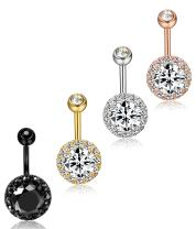 ORAZIO 3-4Pcs 14G Stainless Steel Belly Button Rings Screw Navel Bars Body Piercing