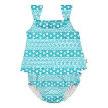 i play. by green sprouts Two Piece Tankini with Snap Reusable Swim Diaper | Baby Girl Swimsuit | Lightweight, Patented Design