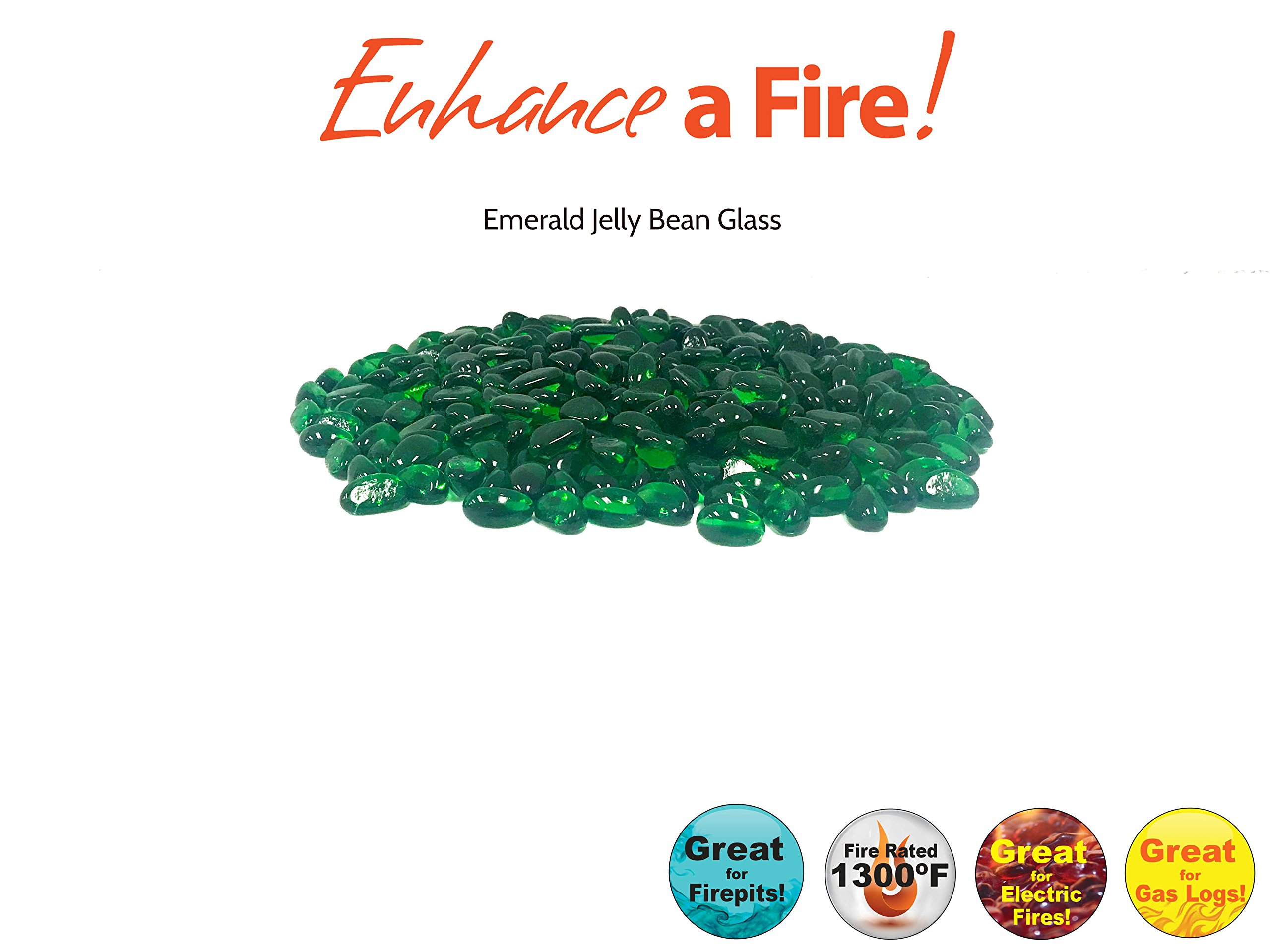 """Enhance A Fire! 1"""" Recycled Smooth Jelly Bean Fire Glass (20, Emerald)"""