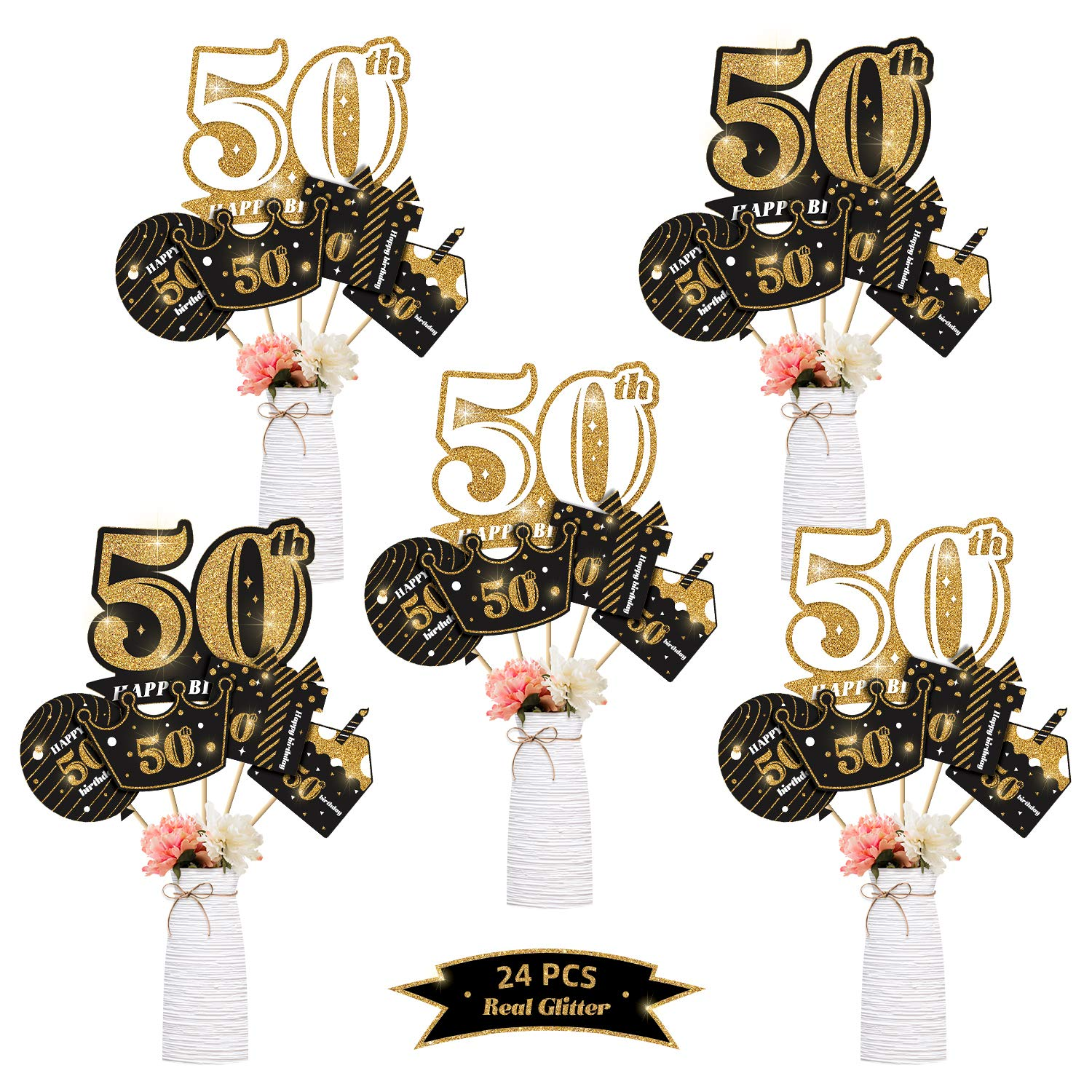 kortes 24Pack 50th Birthday Party Centerpiece Stickers (Real Glitter) Birthday Table Toppers Party Photo Booth Props, 50th Birthday Party Decoration Set