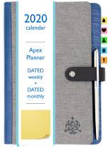 STYLIO APEX Planner 2020. Fully Dated Monthly, Weekly & Daily Calendar Planner. Bonus Planner Stickers & Executive Pen. Faux Leather Agenda. Academic/School Schedule for College Students & Teachers