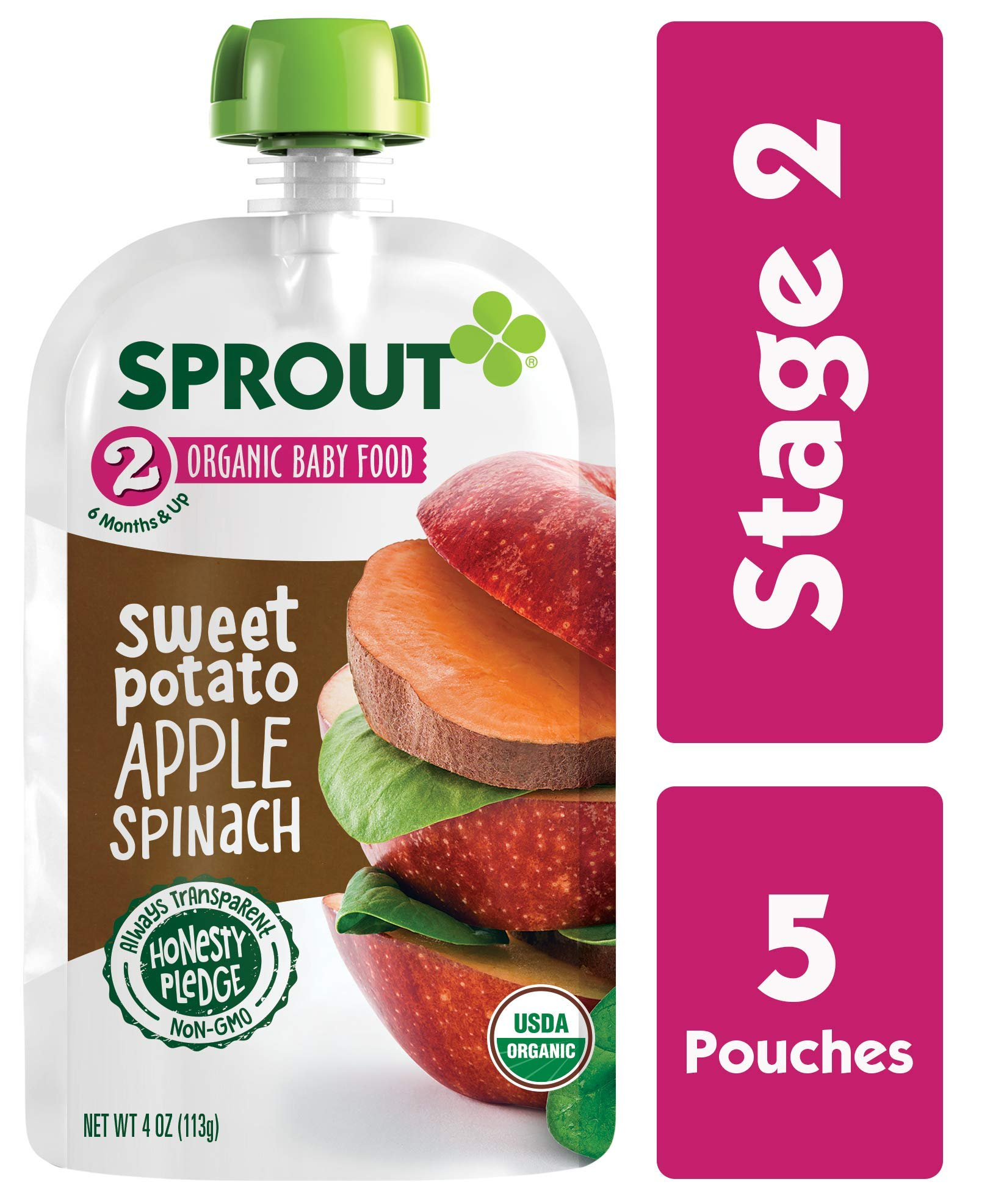 Sprout Organic Stage 2 Baby Food Pouches, Sweet Potato Apple Spinach, 4 Ounce (Pack of 5)