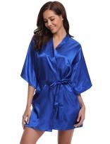 Women's Kimono Robes Satin Pure Colour Short Style with Oblique V-Neck Robe (XXL, Saphire Blue)
