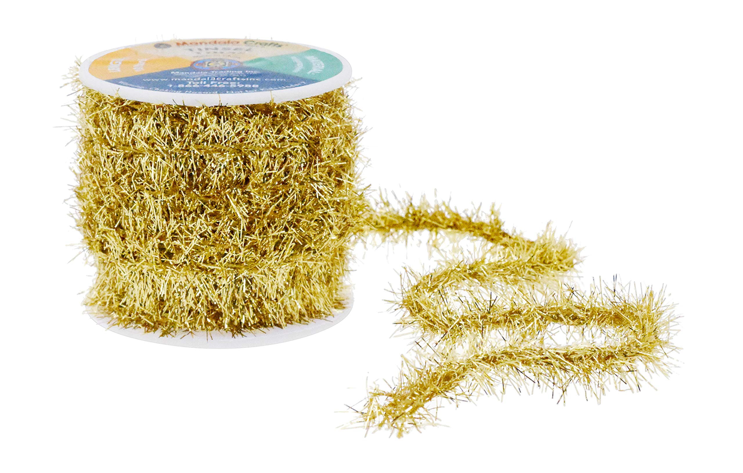 Mandala Crafts Tinsel Garland Décor – Thin Tinsel Ribbon - Metallic Mini Garland with Wire for Christmas Tree Decoration Wedding Birthday Party Supplies Gold 0.75 Inch 10 Yards