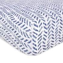Burt's Bees Baby - Fitted Crib Sheet, Boys & Unisex 100% Organic Cotton Crib Sheet for Standard Crib and Toddler Mattresses (Blue Guide the Way Pattern)