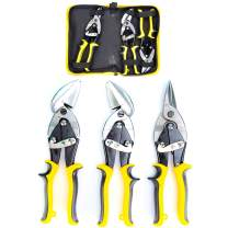 3 Packs Aviation Snip Set, Sheet Metal Cutter, Straight, Left and Right Cut Offset Tin Cutting Shears with Forged Blade for Steel, Aluminum, Leather, Copper with Storage Bag