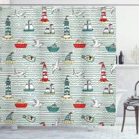 """Ambesonne Lighthouse Shower Curtain, Seagulls Lighthouses Message Bottles Steamboats Sailboats Wavy Pattern Nautical, Cloth Fabric Bathroom Decor Set with Hooks, 70"""" Long, Teal Red"""