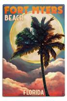 Lantern Press Fort Myers Beach, Florida, Palms and Moon Sunset 47400 (6x9 Aluminum Wall Sign, Wall Decor Ready to Hang)