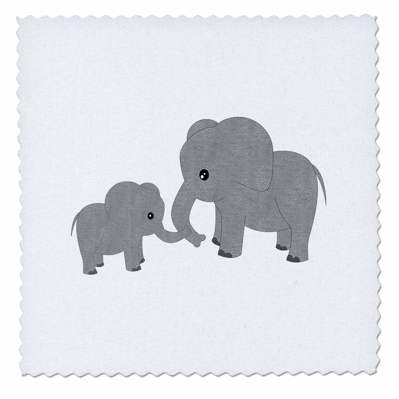 3dRose Mom and Baby Elephant-Quilt Square, 10-inch (qs_195248_1)