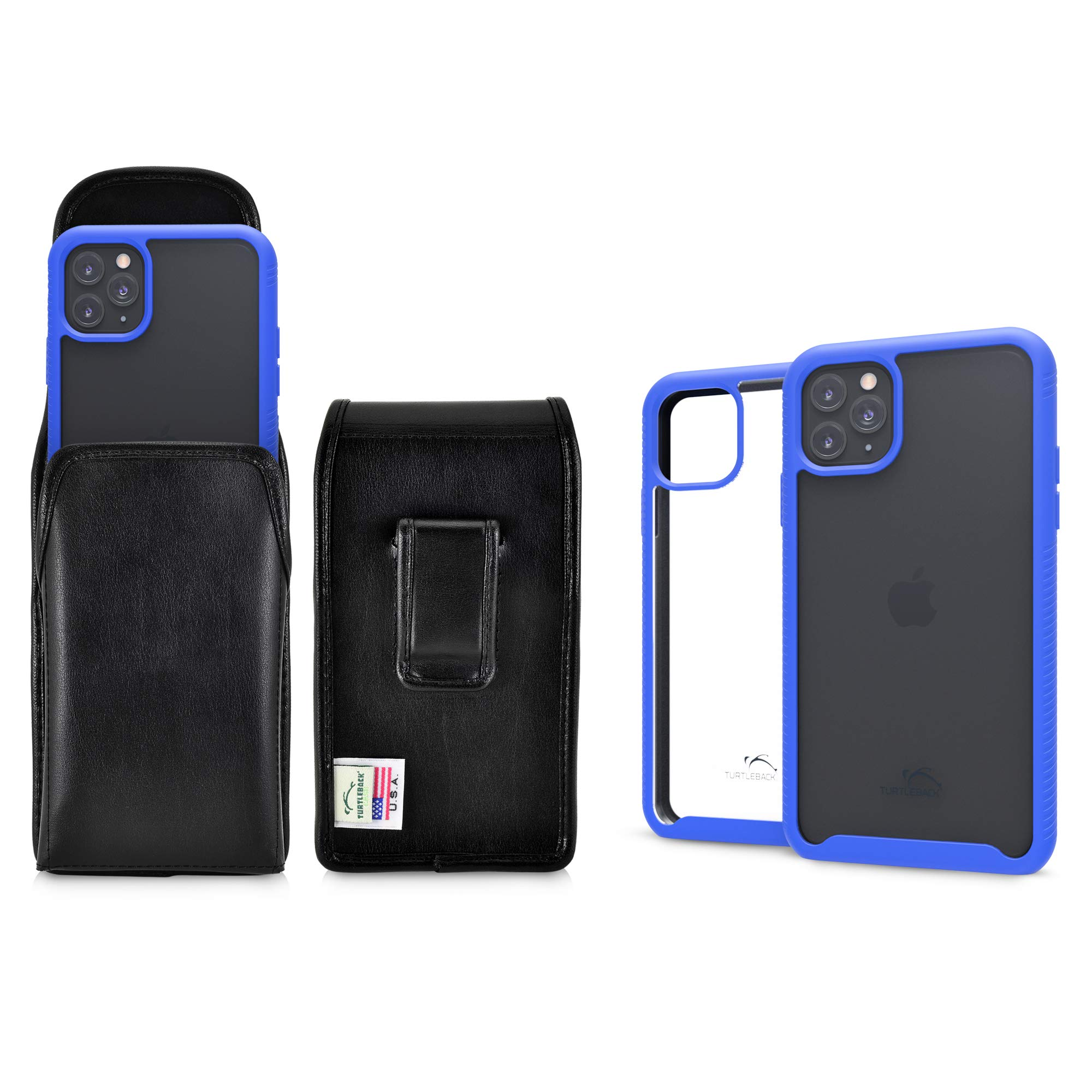 Turtleback Tough Defense Case/Holster Combo Designed for New iPhone 11 Pro (2019) 5.8 Inch, Military Grade Drop Tested Ultra Clear Back Fitted in Leather Belt Pouch Executive Belt Clip-Vertical/Blue