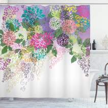 """Ambesonne Flower Shower Curtain, Hand Drawn Style Graphic Floral Print Nature Inspiration Vintage Old Bohemian, Cloth Fabric Bathroom Decor Set with Hooks, 75"""" Long, White Violet"""
