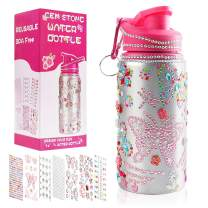 Decorate & Personalize Your Own Water Bottles for Girls with Tons of Rhinestone Glitter Gem Stickers! Reusable,BPA Free 20 oz Kids Water Bottle for Girl,Gift Idea,Fun DIY Kids Arts and Crafts Activity