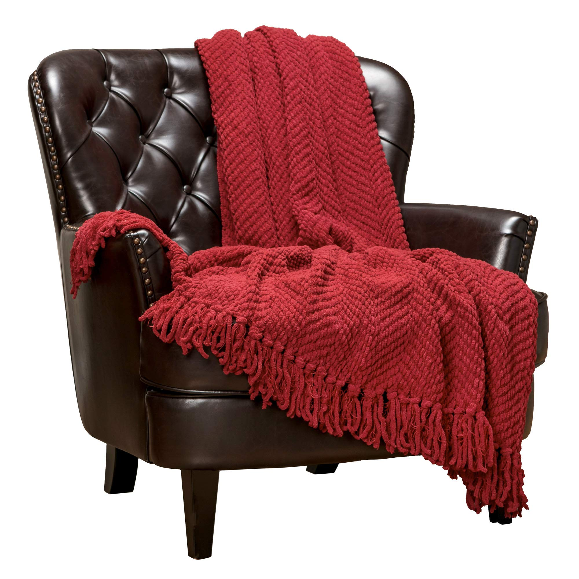 Chanasya Textured Knitted Super Soft Throw Blanket with Tassels Cozy Plush Lightweight Fluffy Woven Blanket for Bed Sofa Chair Couch Cover Living Bed Room Acrylic Red Throw Blanket (50x65 Inches) Red