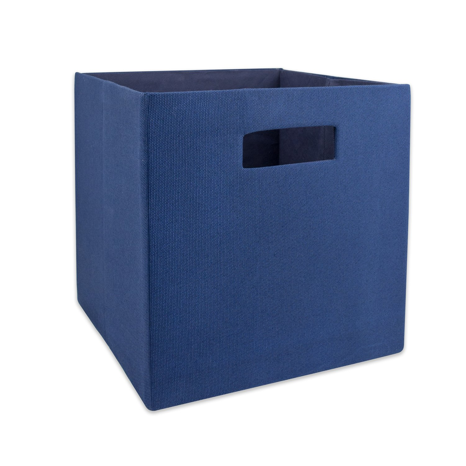 "DII Hard Sided Collapsible Fabric Storage Container for Nursery, Offices, & Home Organization, (11x11x11"") - Solid Nautical Blue"