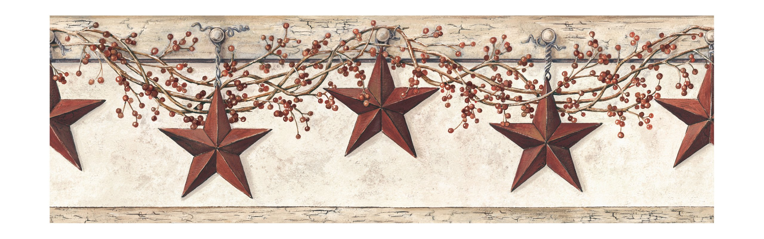 York Wallcoverings Best Of Country HK4664BD Hanging Star Border, Off White/Khaki