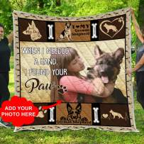 VTH Global Personalized Custom Photo German Shepherd Quilt Fleece Throw Blankets Queen Full Twin Sizes Comforter Birthday Christmas Wedding Puppy Dog Gifts for Mom Dad Wife Husband Kids Pet Lovers