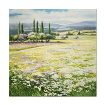 SEVEN WALL ARTS - 100% Hand Painted Oil Painting Modern Wall Art Landscape Artwork with Stretched Frame for Home Decor (24 x 24 Inch, Tuscan Flower Field)