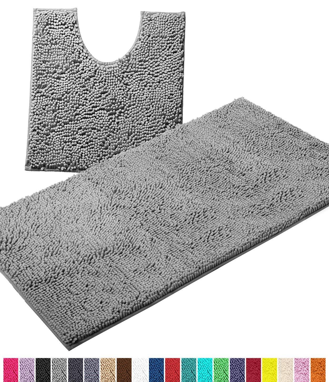 LuxUrux Bathroom Rugs Luxury Chenille 2-Piece Bath Mat Set, Soft Plush Anti-Slip Bath Rug +Toilet Mat.1'' Microfiber Shaggy Carpet, Super Absorbent Machine Washable Mats (Curved Set Large, Light Grey)
