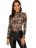 ROMWE Women's Super Stretch Mock Neck Long Sleeve Print Tee Shirt Blouse Without Bra