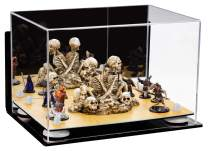 """Better Display Cases Versatile Acrylic Display Case - Medium Rectangle Box with Mirror, Wall Mount, White Risers and Wood Base 12"""" x 8.25"""" x 8"""" (A004-WR)"""