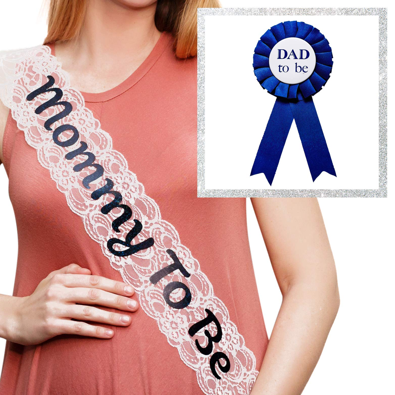 """""""Mommy To Be"""" White Lace Sash and""""Dad To Be"""" Pin Pack - Baby Shower Decorations, Welcome Baby, Baby Sprinkle"""