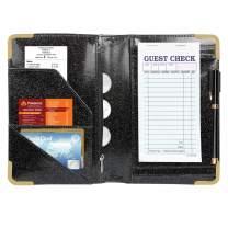 CoBak Server Book - Waitress Book Organizer with Zipper Pouch for Restaurant Waitstaff, 5 Large Pockets with Pen Holder, Black Glitter