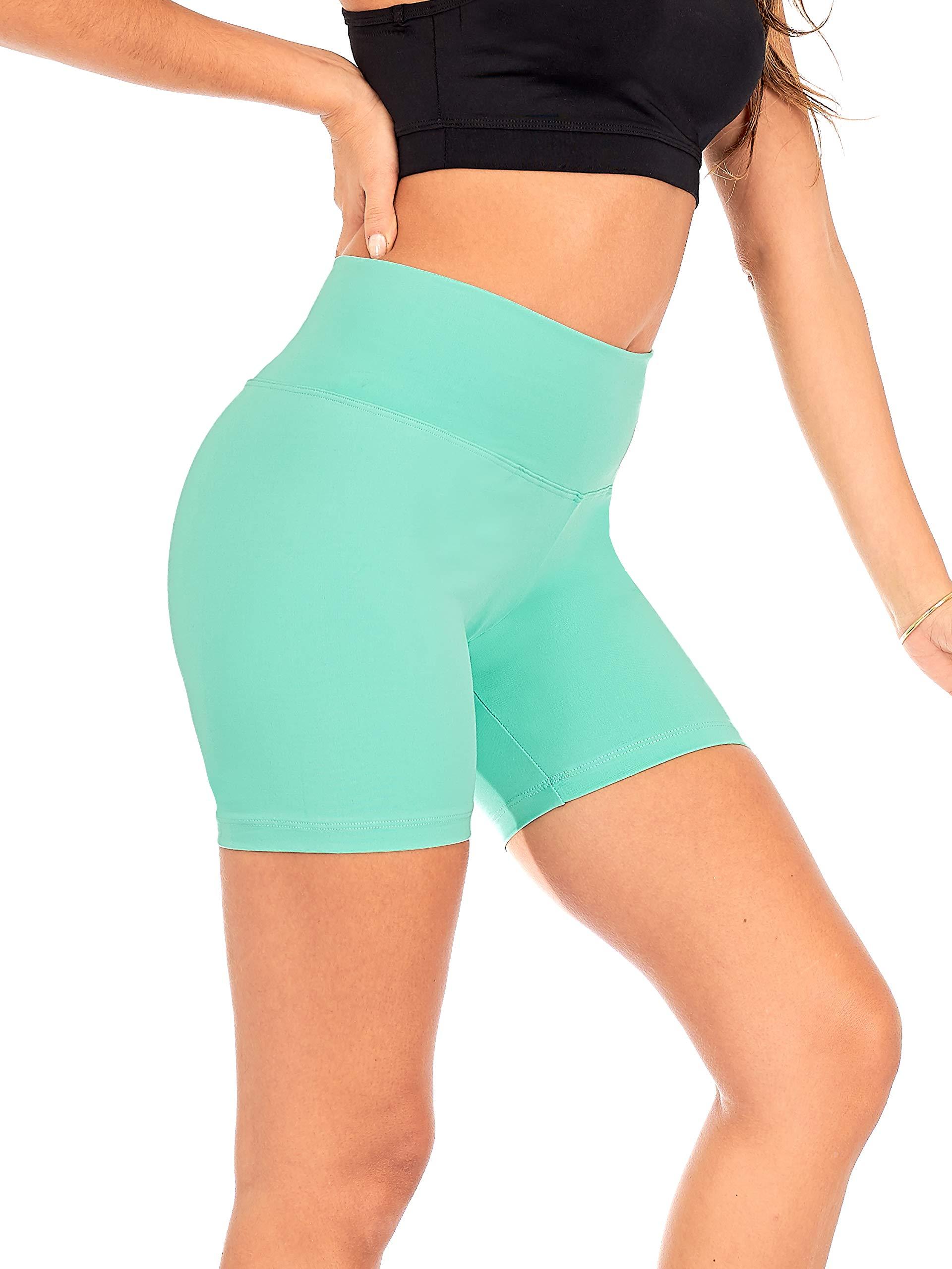 DEAR SPARKLE Yoga Shorts Running Short for Women High Waist Workout 5 Inch Bike Shorts with Pockets (S14)