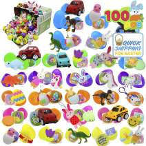 "100 PCs Toys Plus Stickers Prefilled Easter Eggs Premium Hinged 2 3/8"" for Easter Theme Party Favor, Eggs Hunt, Basket Stuffers Fillers, Birthday Party Decorations(Quality Toys)"