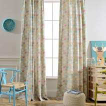 Melodieux Cartoon Elephant Flower Print Room Darkening Grommet Curtains Drapes for Kids Room Nursery Living Room, 52 by 63 Inch, Baby Blue(2 Panels)