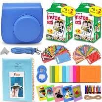 Fujifilm Instax Mini Instant Film (2 Twin Packs, 40 Total Pictures) + Cobalt Blue Fitted Case for Instax Mini 9 Instant Camera, Assorted Colorful Stickers/Frames, Photo Album + More