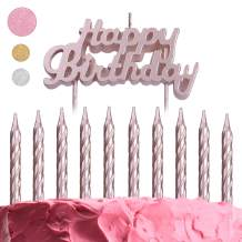 GET FRESH Rose Gold Birthday Cake Candles Set – 10-Pack Spiral Candles and Happy Birthday Candles Cake Topper – Elegant Bday Candles and Letter Candles Cake Decoration – Unique Pink Birthday Candles