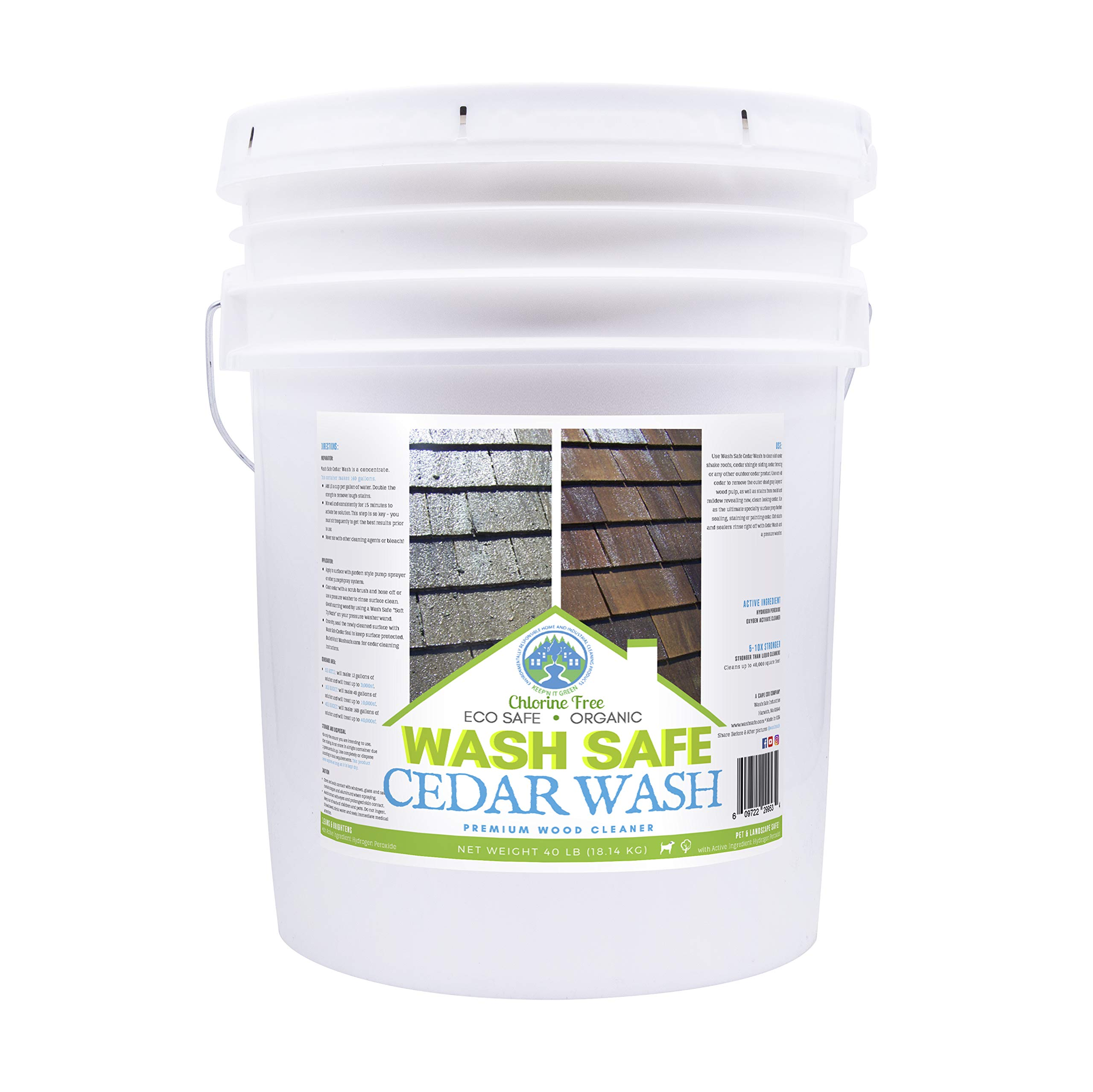 Wash Safe Industries CEDAR WASH Eco-Safe and Organic Wood Cleaner, 40 lb Container