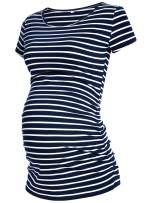 GLAMIX Women's Maternity T-Shirt Side Ruched Short Sleeve Basic Pregnancy Tops