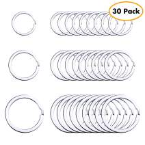 Flat Key Rings Key Chain Metal Split Ring 30pcs (Round 3/4 Inch, 1 Inch and 1.25 Inch Diameter), for Home Car Keys Organization, Lead Free Nickel Plated Silver