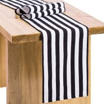 Letjolt Striped Table Runner Black and White Table Runner Fabric Table Decor Outdoor Table Runner Wedding Baby Shower Table Decoration Pirate Party Birthday Party, 12x72 Inches