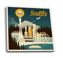 Lantern Press Seattle, Washington - Retro Skyline (Set of 4 Ceramic Coasters - Cork-Backed, Absorbent)