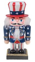 """Clever Creations 6"""" Chubby Uncle Sam Nutcracker American Flag Hat 