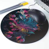 Floral Flower Art Round Ergonomic Mouse Pad Non-Slip Rubber Material for Office Desk Gaming Home Space Decor - 220mm Diameter