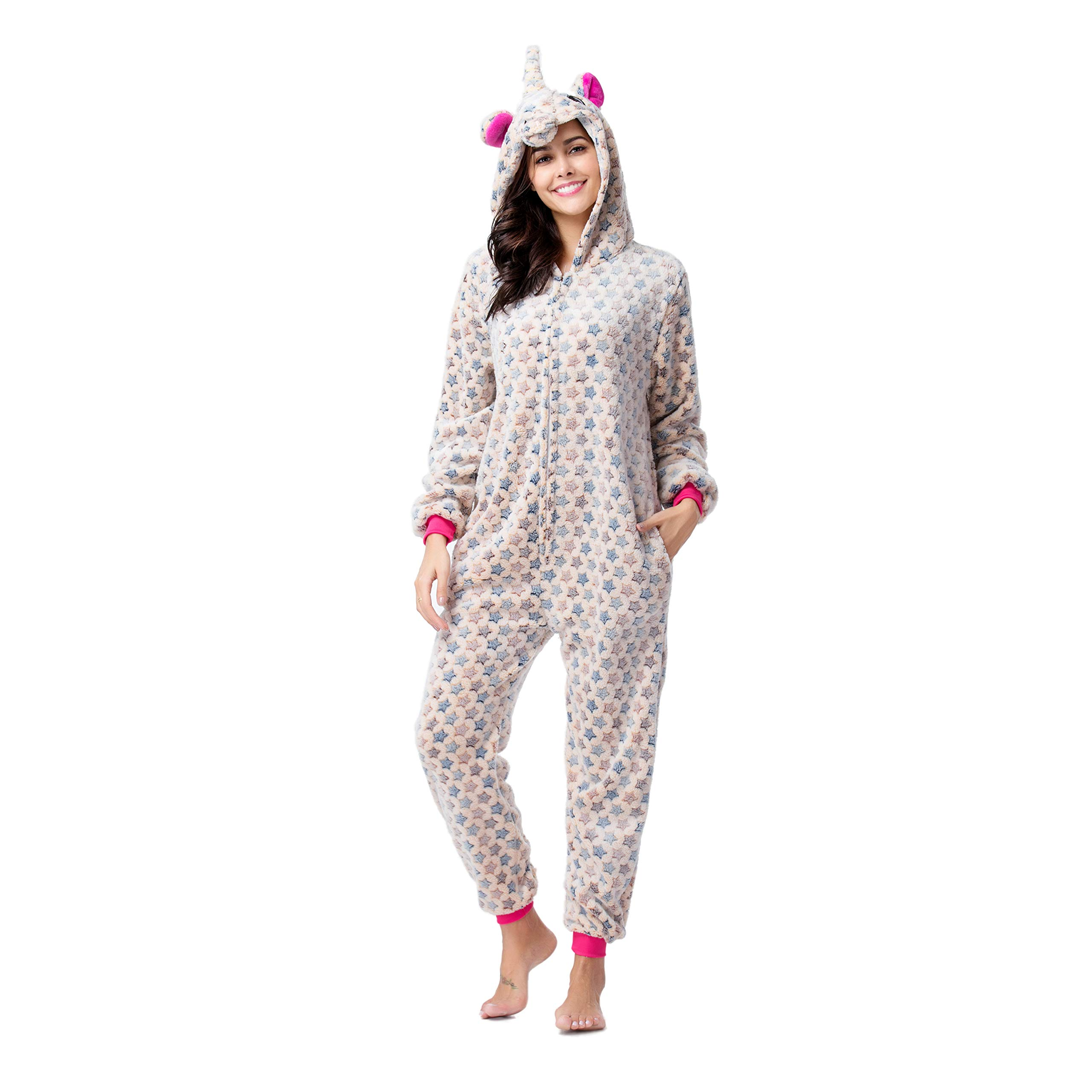RONGTAI Adults Unisex Animal Flannel Unicorn Onesie Pajamas Cosplay Costume