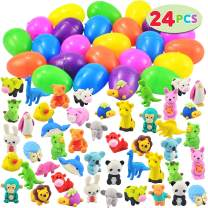JOYIN 24 Pack Easter Eggs Prefilled with 48 Animal-Themed Puzzle Erasers, Pencil Erasers Easter Basket Stuffer Prefilled Easter Egg Toys