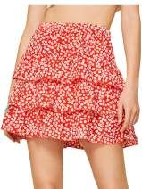 WDIRARA Women's Ditsy Floral A line Tie Front High Waist Ruffle Mini Skirts