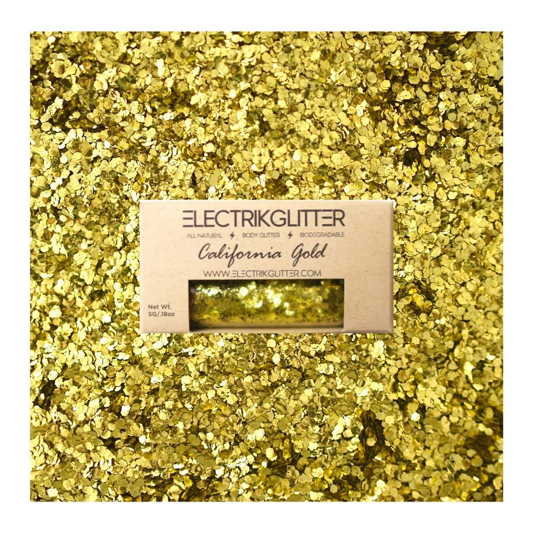 Biodegradable Glitter Chunky Glitter for Festivals. Eco Friendly Body Glitter for Hair Glitter, Nail Glitter, Face Eyeshadow glitter, Rave accessories, Holographic glitter makeup (Gold Glitter)